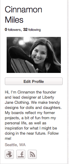 Cinnamon Miles' Pinterest Profile