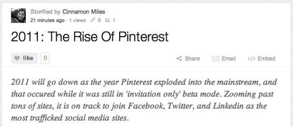 Storify: 2011 The Rise Of Pinterest