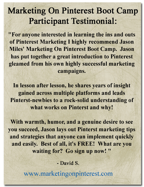Marketing On Pinterest Boot Camp Testimonial