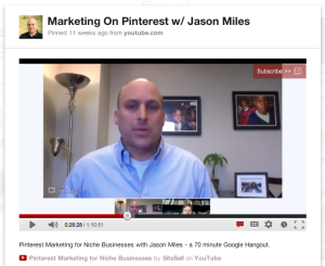 pinterest youtube video playing in Pinterest
