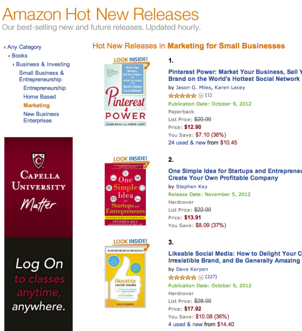 Pinterest Power #1 On Amazon 'Hot New Releases'